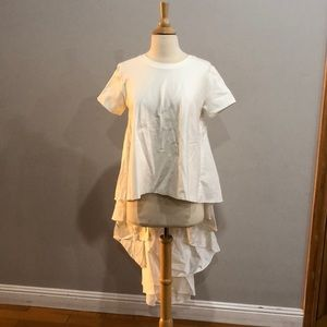 Tops - White T-shirt style atop with long pleated back